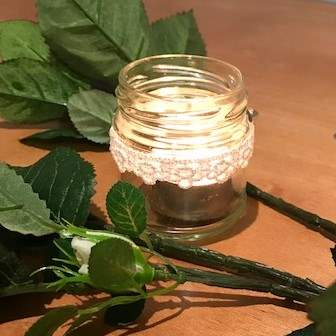tealight holders (mini mason jars with lace) | Candle Holders
